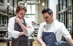 Previous chefs at Spoon and Stable's Synergy Series include Grant Achatz of Chicago's Alinea, left, with chef Gavin Kaysen.  Bonjwing Lee