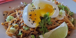 'Extremely Spicy' breakfast noodles at Lake & Bryant Cafe in Minneapolis.