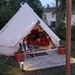 Betsy Parker via New York Times ,A backyard tent 40 feet from the home of Betsy and Joe Parker in Des Moines.