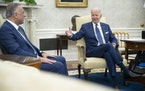 President Joe Biden met with Iraqi Prime Minister Mustafa al-Kadhimi in the Oval Office on Monday, July 26, 2021, before announcing a policy shift on