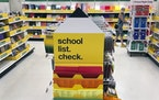 Back-to-school supplies await shoppers at a Massachusetts story in July.
