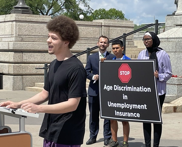 Cole Stevens spoke in May at a news conference at the Minnesota State Capitol on behalf of workers young and old cut off from benefits.