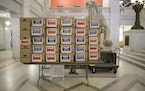 Boxes containing more than 20,000 signed petitions in support of replacing the Minneapolis Police Department were delivered to City Hall in April.