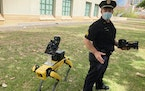 Honolulu Police Acting Lt. Joseph O'Neal demonstrates a robotic dog in Honolulu, Friday May 14, 2021. Police officials experimenting with the four-l