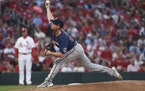 Twins starting pitcher Griffin Jax threw during the second inning at St. Louis on Friday.