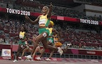 Elaine Thompson-Herah, of Jamaica, wins the women's 100-meter final at the 2020 Summer Olympics, Saturday, July 31, 2021, in Tokyo.