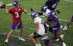 Vikings quarterback Jake Browning (3) competed against himself Saturday night.
