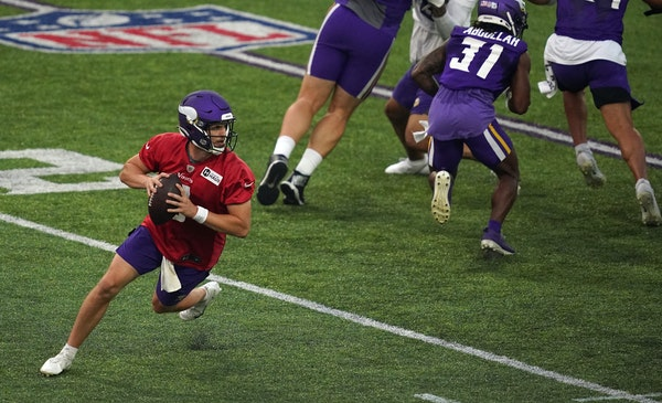 Jake Browning (3) was the only quarterback available for Saturday's Vikings practice.