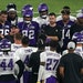 Vikings coach Mike Zimmer, shown addressing his players during practice Saturday night, has become frustrated with having three of his quarterbacks �