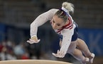 Mykayla Skinner of the United States, performs on the vault during the artistic gymnastics women's apparatus final.