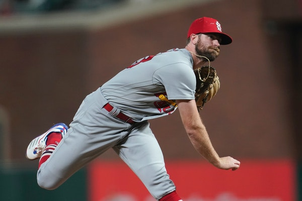 John Gant, shown pitching for the Cardinals in July and acquired by Minnesota in the J.A. Happ deal, made his Twins debut against his old team Sunday.