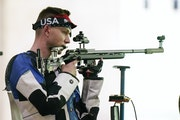 Farmington native Patrick Sunderman finished 12th in the men's 50-meter three positions rifle competition at the Asaka Shooting Range in Tokyo on Mo