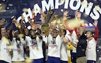 The United States celebrated their extra-time victory over Mexico in the CONCACAF Gold Cup final soccer match Sunday in Las Vegas.