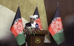 Afghan President Ashraf Ghani speaks at the extraordinary meeting of the Parliament in Kabul, Afghanistan, Monday, Aug. 2, 2021.