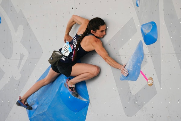 Kyra Condie of Shoreview competes in bouldering in May.