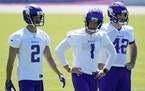 Vikings kicker Greg Joseph (1) with punter Britton Colquitt (2) and long snapper Andrew DePaola (42) at minicamp in June.