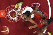 Sylvia Fowles of the Lynx, right, and Team USA's powerhouse frontcourt have worn down Olympic opponents such as France.