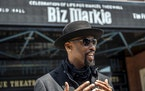 """Montell Jordan speaks to members of the media as he arrives for the funeral of Marcel Theo Hall, aka """"Biz Markie"""", outside the Patchogue Theater f"""