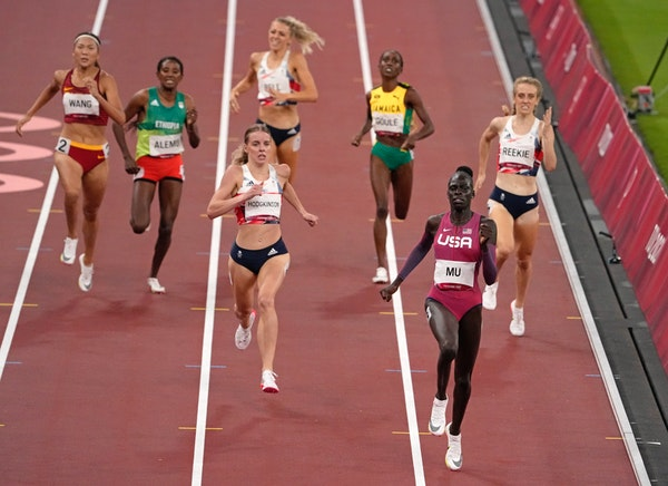 Athing Mu, of United States wins the gold medal ahead of Keely Hodgkinson, of Britain in the final of the women's 800-meters.