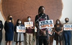 JaNaé Bates spoke at a news conference July 30 about the Yes 4 Minneapolis lawsuit against the city to remove an explanatory note that would be attac