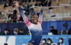 Simone Biles after completing her balance beam routine Tuesday.