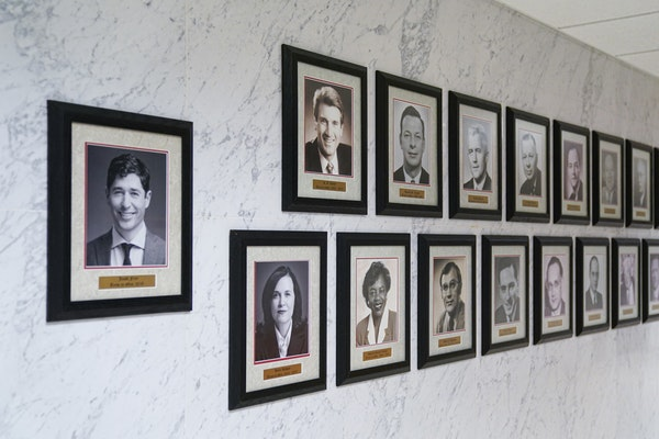 The Minneapolis mayor has plenty of power under the current structure, opponents of City Question argue. Above, portraits of current and past Minneapo