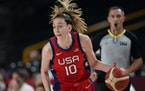 The United States' Breanna Stewart drove to the basket against Australia during a women's basketball quarterfinal game at the 2020 Summer Olympics
