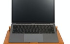 The Moshi Muse's magnetic closure flap turns into a 15-degree laptop stand.