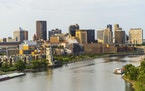The downtown St. Paul skyline and the Mississippi River riverfront.