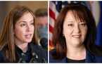 State Sen. Melisa Franzen, left, and State Auditor Julie Blaha were both hospitalized Wednesday night after a car crash while driving back from Farmfe