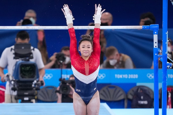 Sunisa Lee of the United States competing on the uneven bars during the women's team gymnastic's final at the delayed Tokyo 2020 Olympic Games in