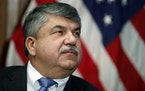 FILE - In this April 4, 2017 file photo, AFL-CIO president Richard Trumka listens at the National Press Club in Washington. The longtime president of