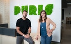Tyler Lorenzen is CEO of Puris Proteins and his sister Nicole Atchison is CEO of Puris Holdings. They are shown in the company's Minneapolis headqua