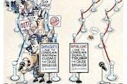 Sack cartoon: Democrats vs. Republicans