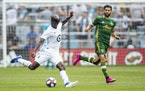 Ike Opara made a pass against Portland FC on Aug. 4, 2019 at Allianz Field.