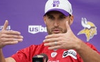 Vikings quarterback Kirk Cousins discussed COVID-19 protocols at a news conference Thursday, including Plexiglas dividers.