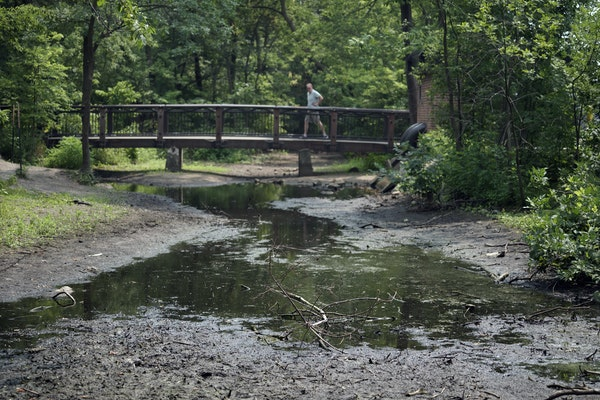 Minnesota is heading deeper into drought. Lawns are brown and water levels in rivers, lakes and creeks are dropping. Here, the creek between Lake Harr