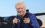Richard Branson answers students' questions during a news conference at Spaceport America near Truth or Consequences, N.M. Virgin Galactic is sellin