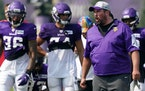 Vikings offensive line coach Phil Rauscher during training camp.