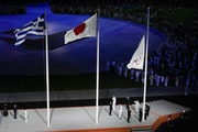 The Olympic flag is lowered during the Closing Ceremony as the Tokyo Summer Games came to an end.
