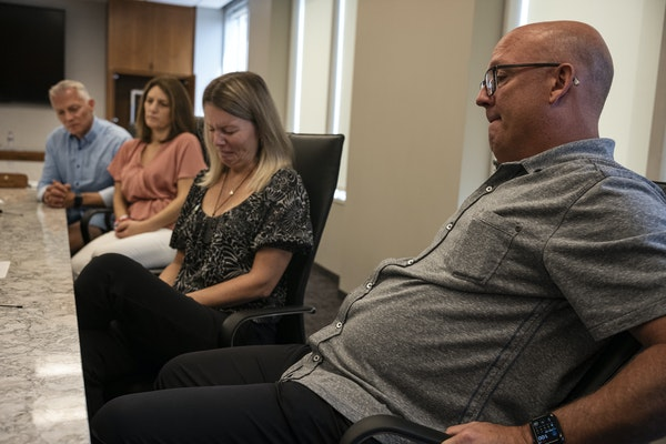 At their lawyers' office on August 9 ,2021 in Minneapolis, Minnesota, Bob Motzko lost his son in a tragic car accident. On the left is his wife Shel