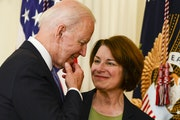 Sen. Amy Klobuchar with President Joe Biden in July. Klobuchar and Sen. Tina Smith both expect the House to agree to the Senate bill and get it to Bid