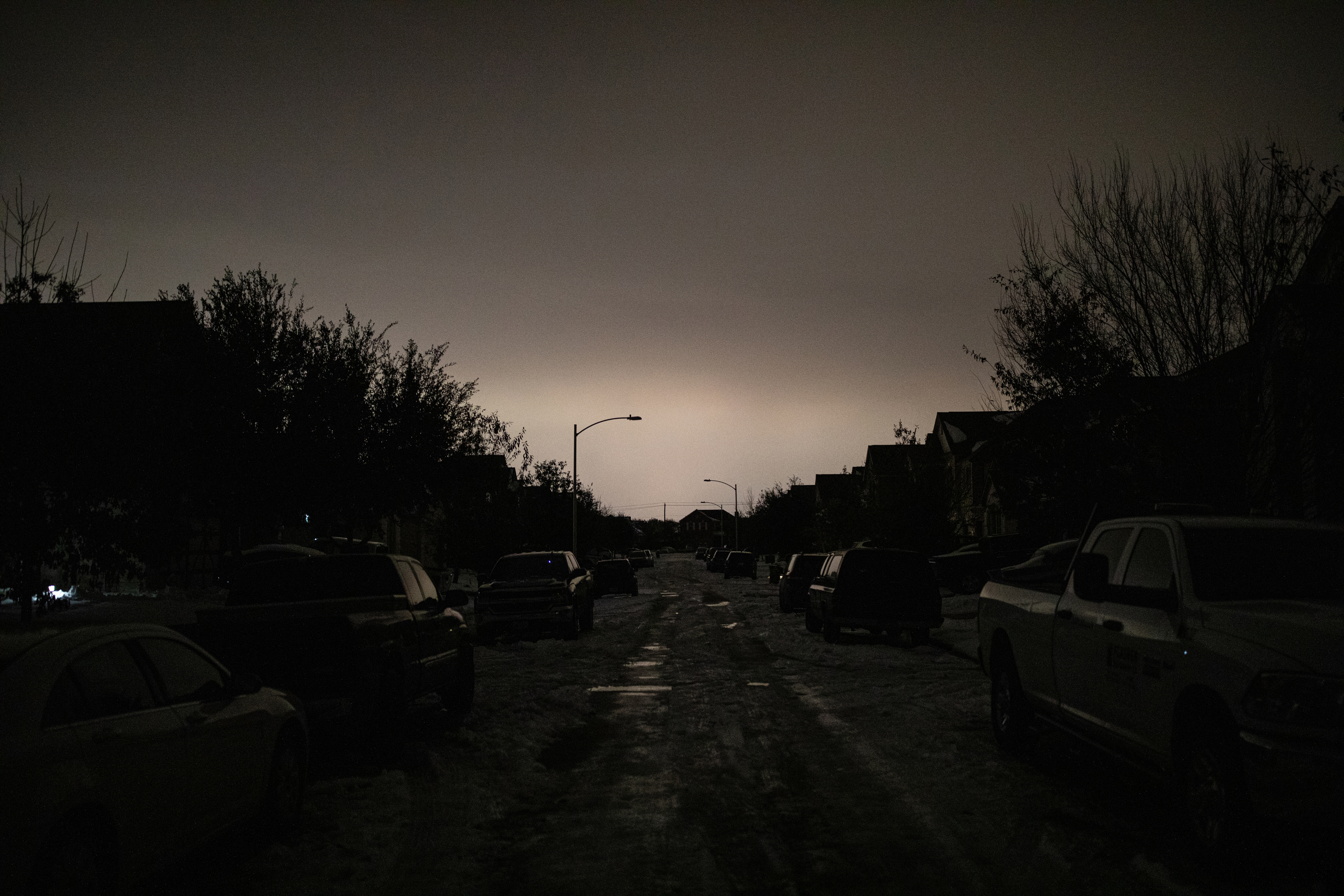 A neighborhood without power in Austin, Texas on Feb. 16, 2021.