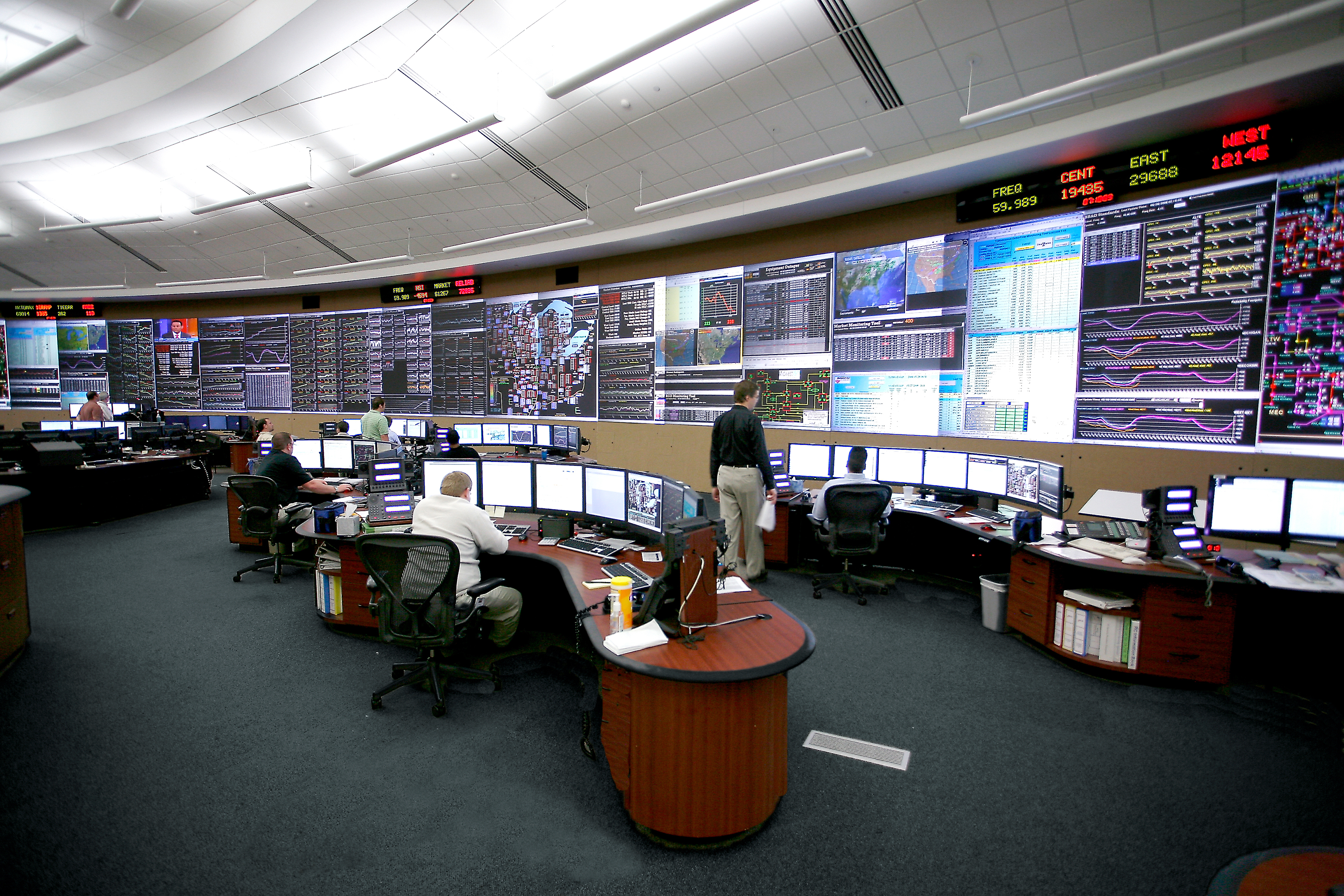 The control center of the Midcontinent Independent System Operator (MISO) in Carmel, Indiana. MISO operates a similar but smaller center in Eagan.