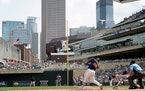 Miguel Sano doubled in the fifth inning of Wednesday's victory over Cleveland at Target Field.