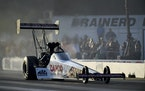 Steve Torrence drove in Top Fuel qualifying at the Lucas Oil NHRA Nationals drag races at Brainerd International Raceway in 2019.