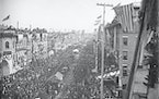 To celebrate completion of the Northern Pacific Railway's transcontinental line in 1883, the Twin Cities threw a massive daylong bash that attracted