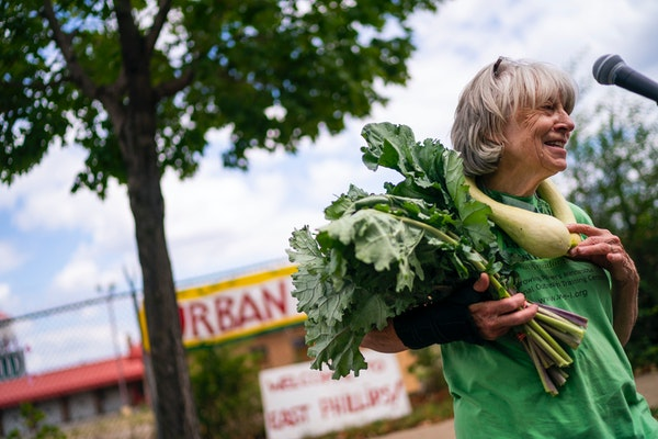 Karen Clark of the East Phillips Neighborhood Institute spoke at an Aug. 1 rally in favor of an urban farm at the site.