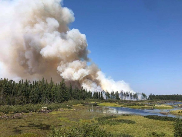"""A Colorado fire crew conducted a """"defensive burn"""" operation on the southeastern edge of the Greenwood fire over the weekend."""