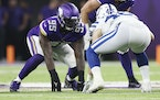 Vikings defensive end Janarius Robinson (95) during the preseason game against the Colts on Saturday.